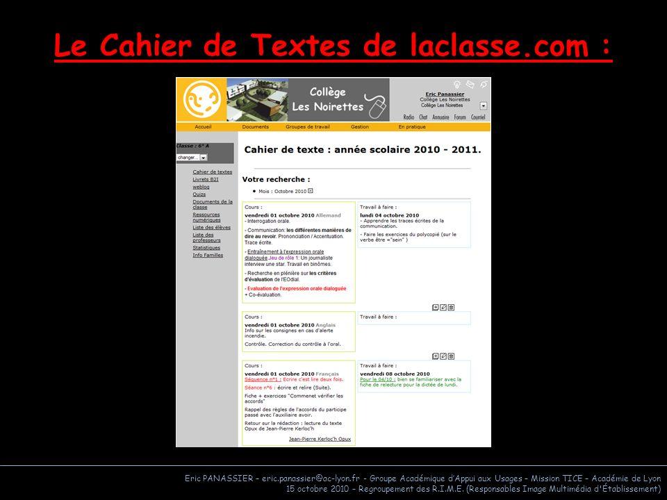 Le Cahier de Textes de laclasse.com :