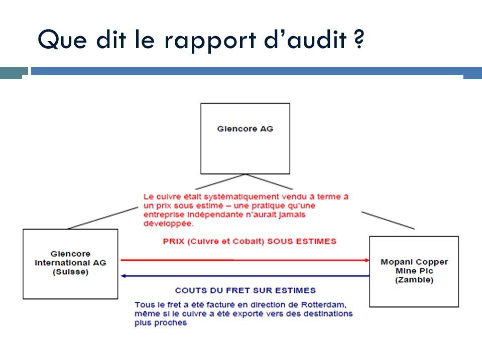 Que dit le rapport d'audit