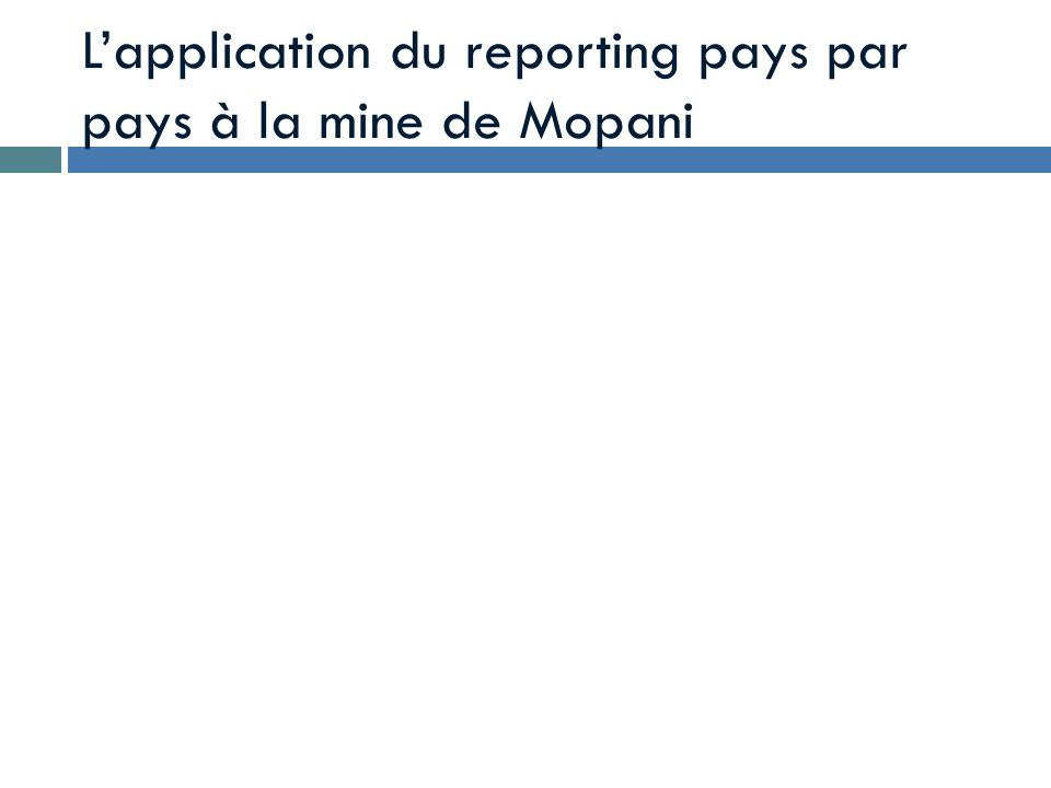 L'application du reporting pays par pays à la mine de Mopani