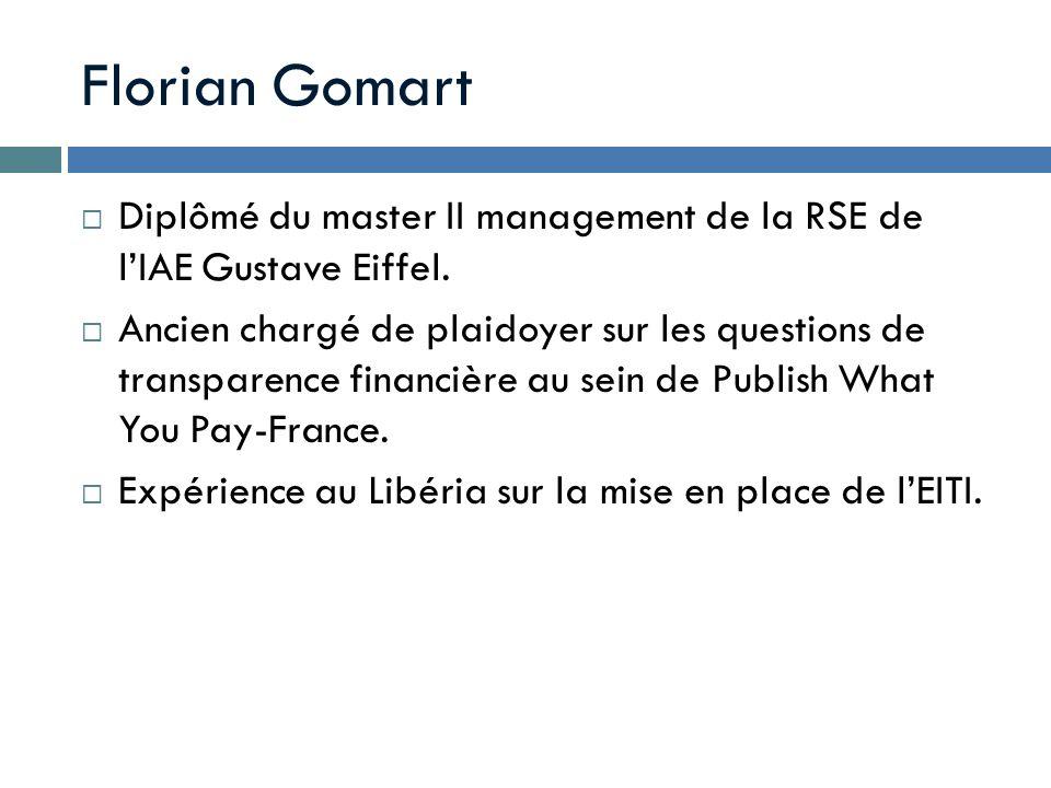 Florian Gomart Diplômé du master II management de la RSE de l'IAE Gustave Eiffel.
