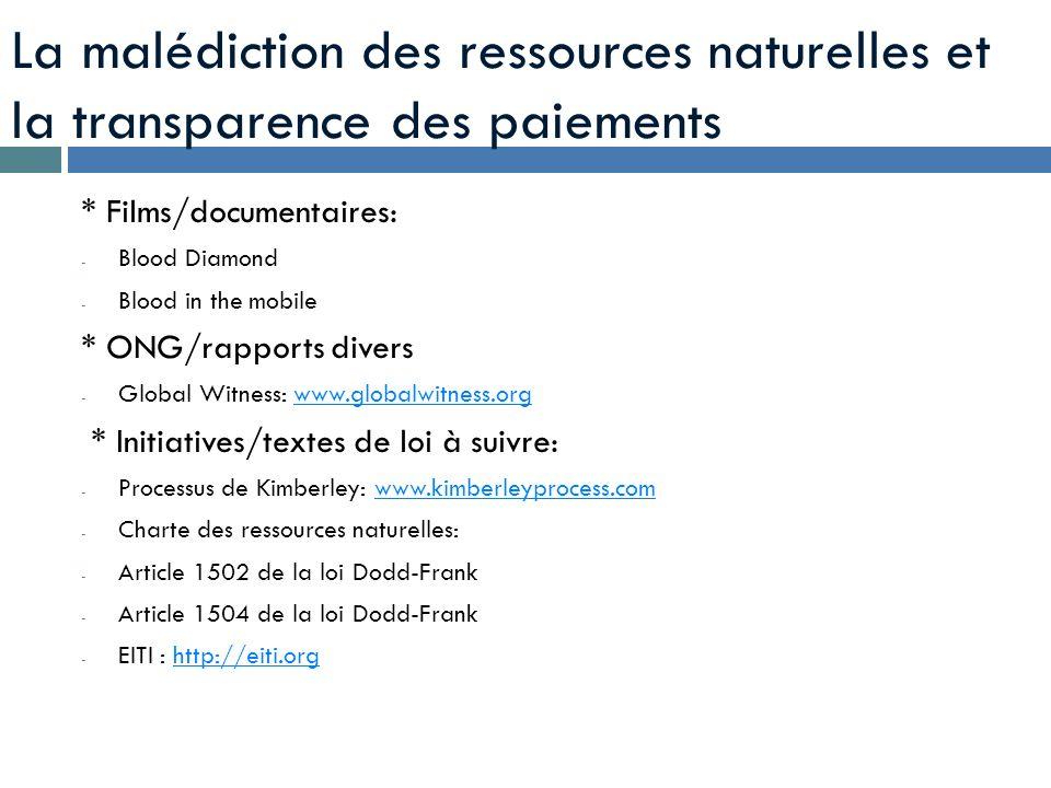 La malédiction des ressources naturelles et la transparence des paiements
