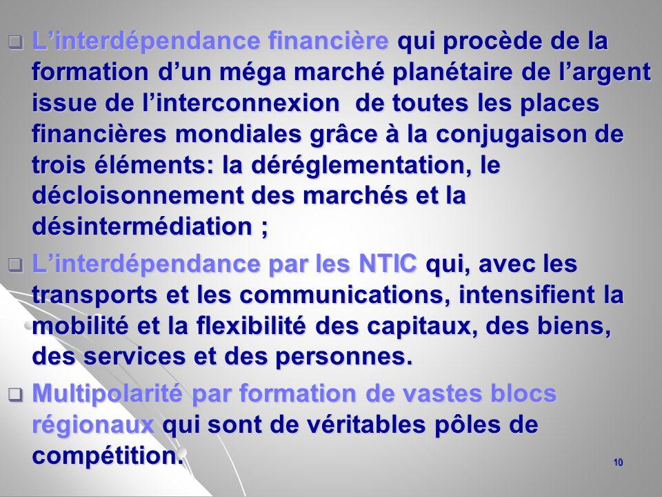 L'interdépendance financière qui procède de la formation d'un méga marché planétaire de l'argent issue de l'interconnexion de toutes les places financières mondiales grâce à la conjugaison de trois éléments: la déréglementation, le décloisonnement des marchés et la désintermédiation ;