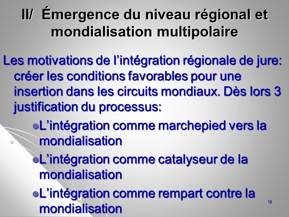 II/ Émergence du niveau régional et mondialisation multipolaire