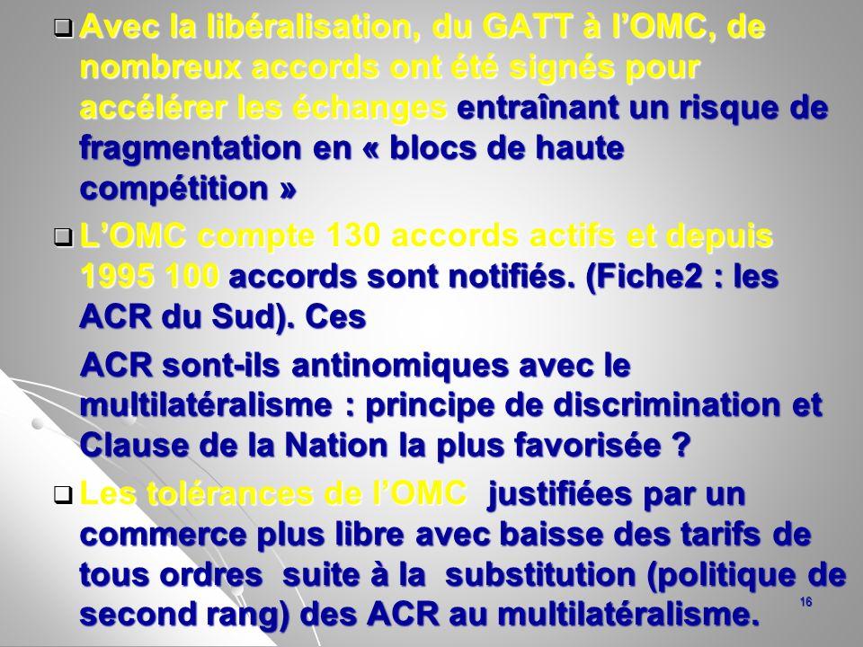 Avec la libéralisation, du GATT à l'OMC, de nombreux accords ont été signés pour accélérer les échanges entraînant un risque de fragmentation en « blocs de haute compétition »