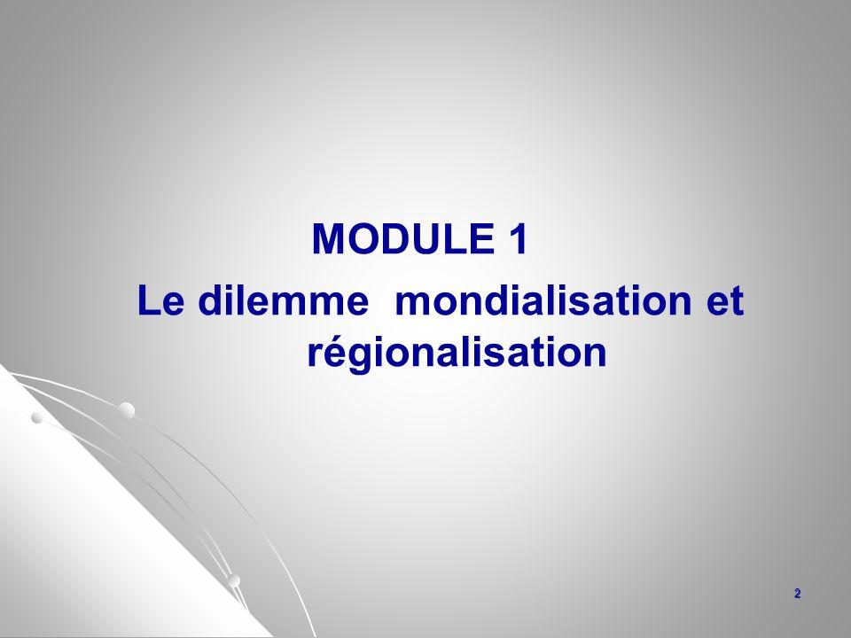 MODULE 1 Le dilemme mondialisation et régionalisation