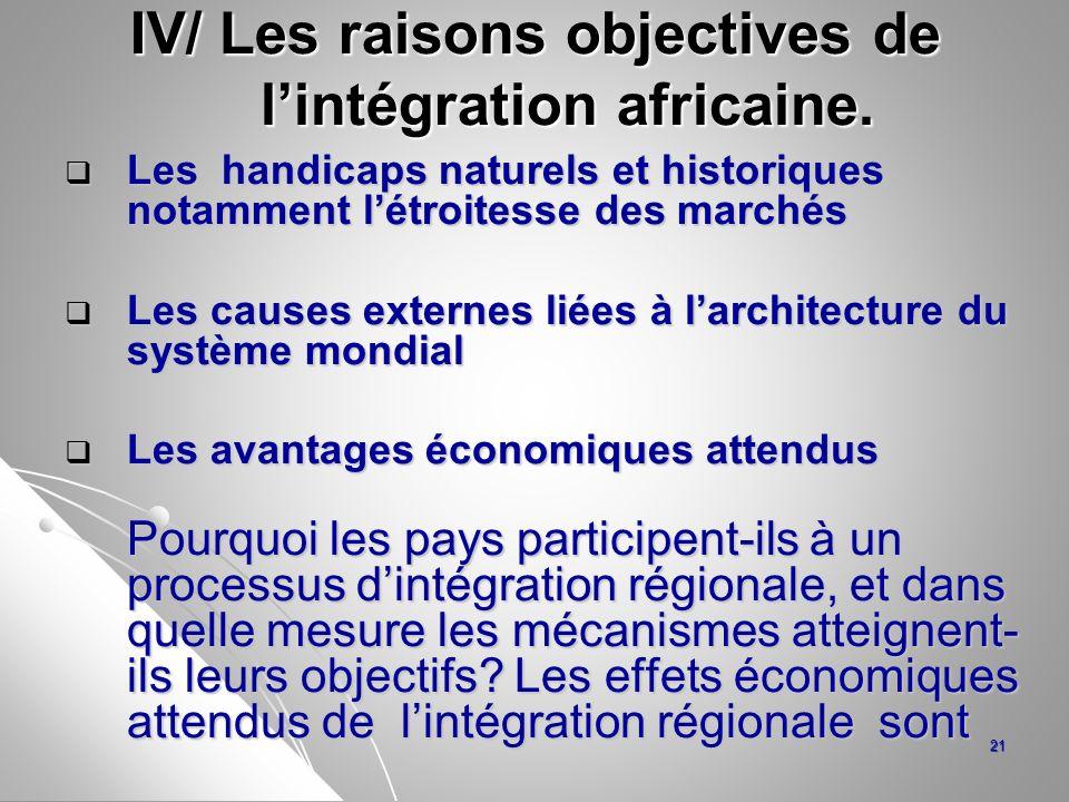 IV/ Les raisons objectives de l'intégration africaine.