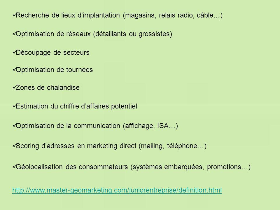 Recherche de lieux d'implantation (magasins, relais radio, câble…)