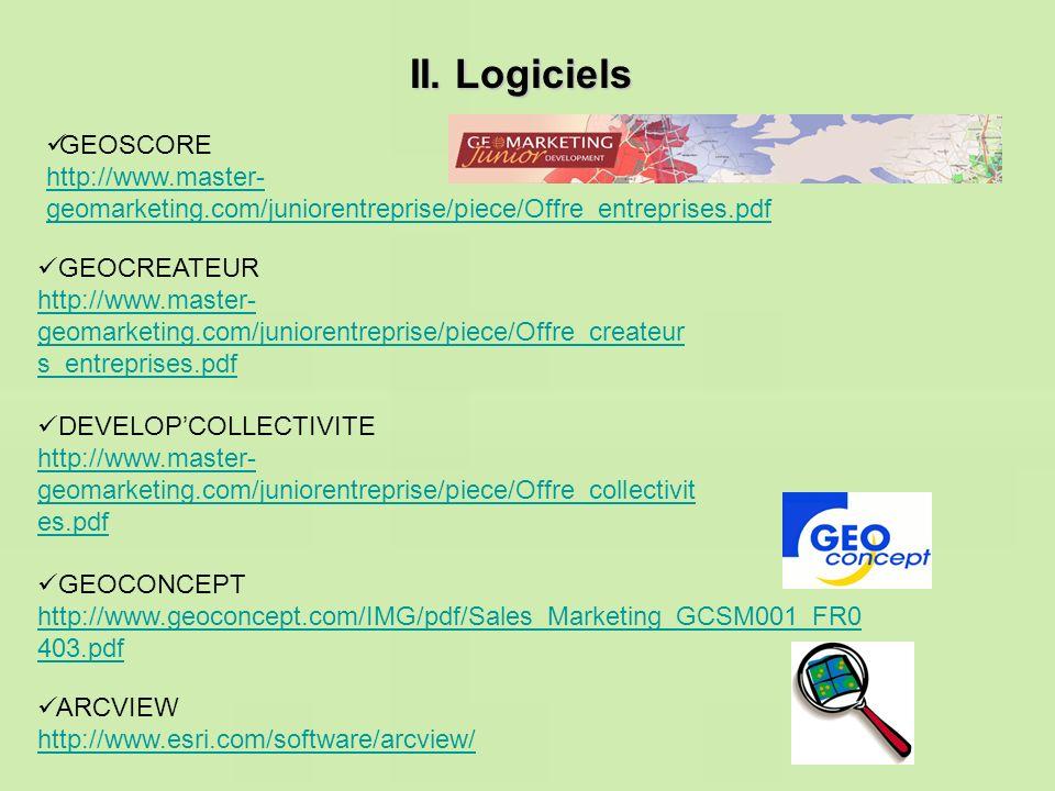 II. Logiciels GEOSCORE. http://www.master-geomarketing.com/juniorentreprise/piece/Offre_entreprises.pdf.