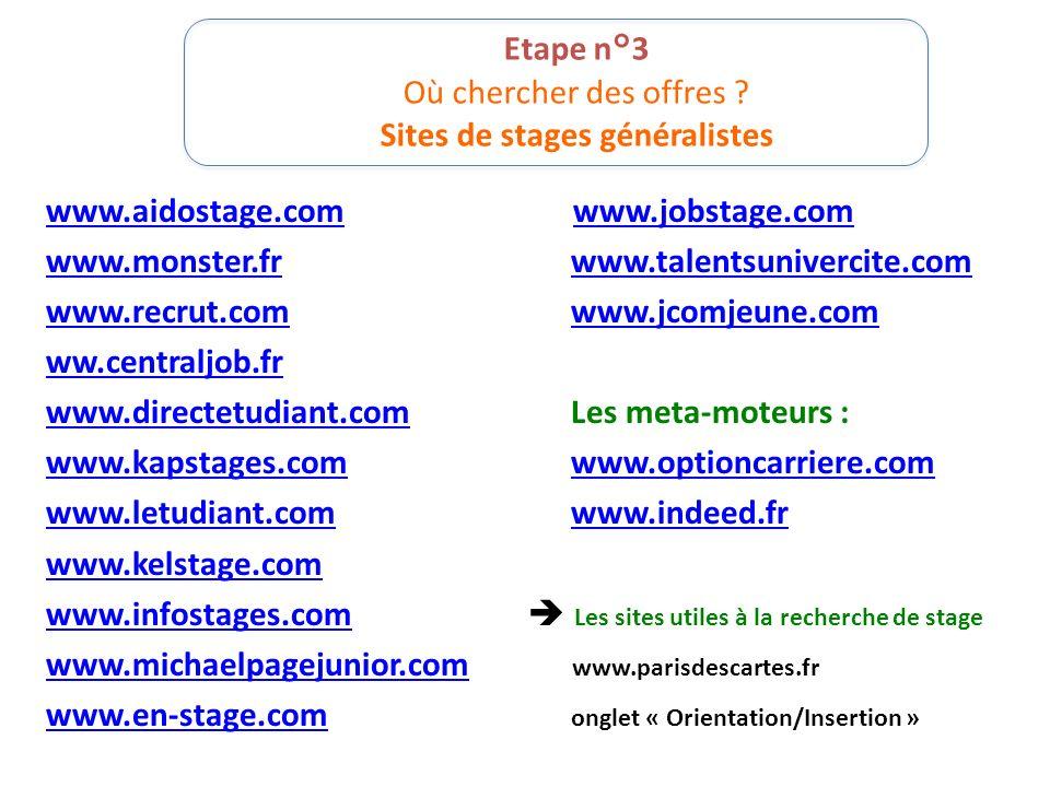 Etape n°3 Où chercher des offres Sites de stages généralistes