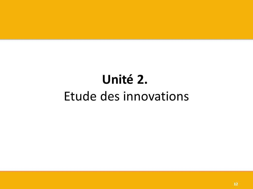 Unité 2. Etude des innovations