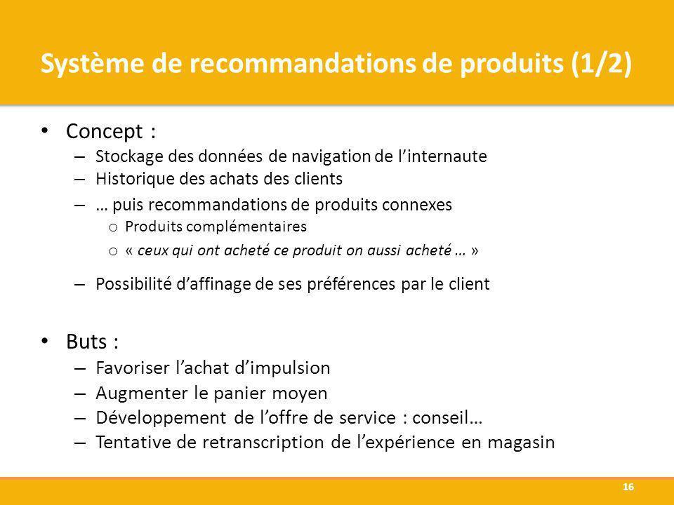 Système de recommandations de produits (1/2)