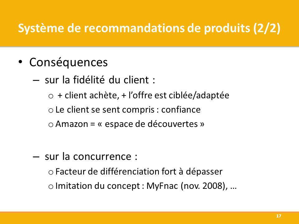 Système de recommandations de produits (2/2)