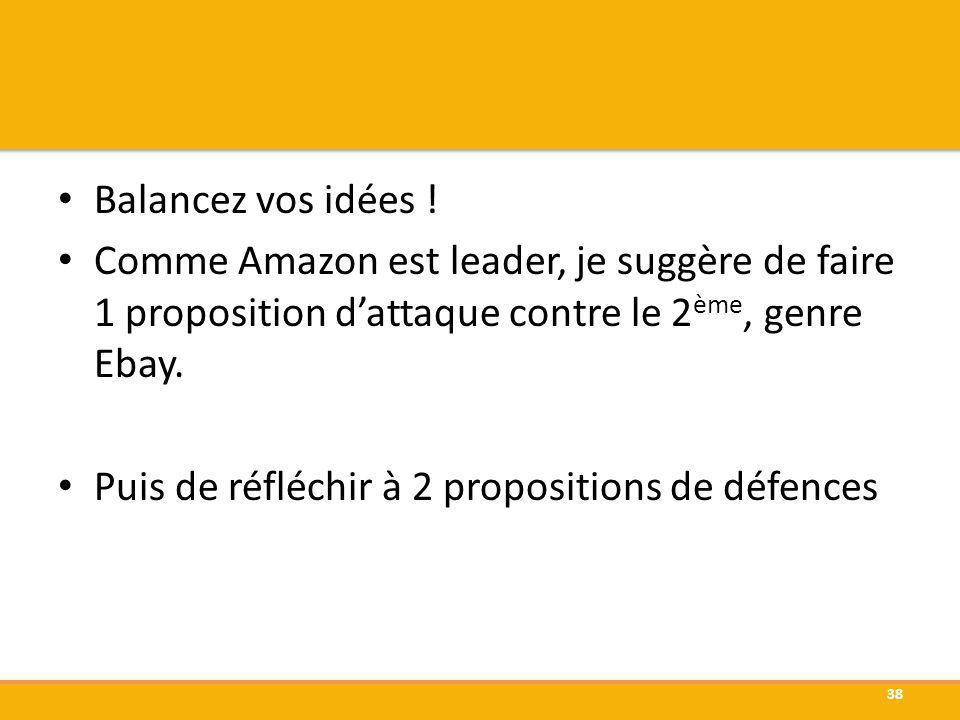 Balancez vos idées ! Comme Amazon est leader, je suggère de faire 1 proposition d'attaque contre le 2ème, genre Ebay.