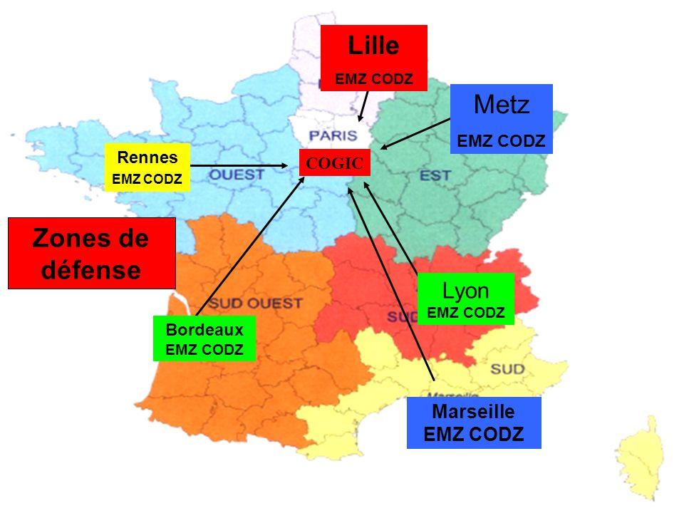 Lille Metz Zones de défense Lyon EMZ CODZ Marseille EMZ CODZ EMZ CODZ