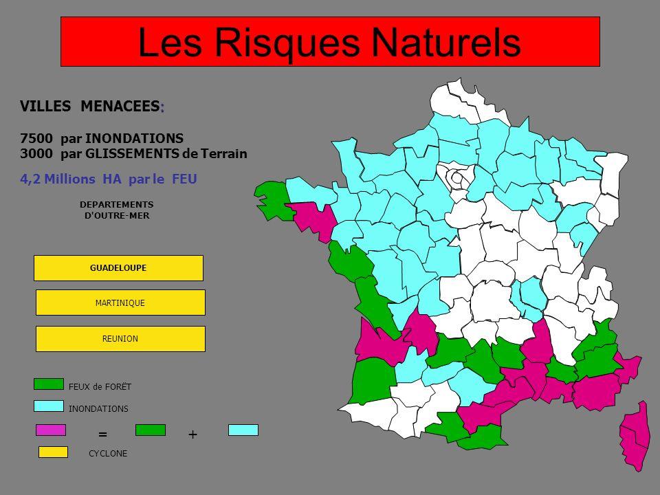 Les Risques Naturels Face aux risques VILLES MENACEES: = +