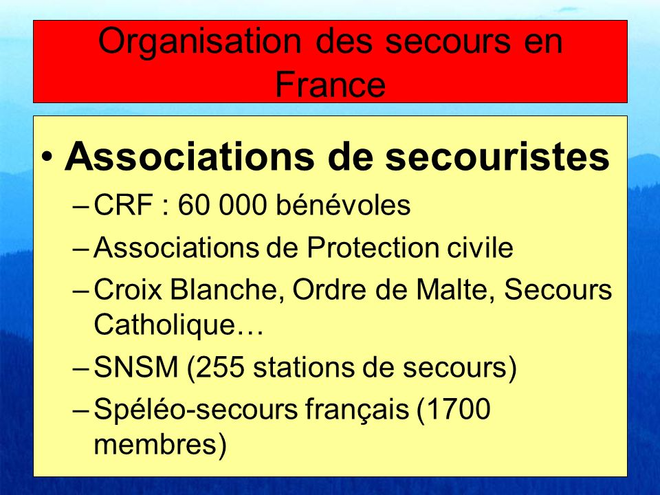 Organisation des secours en France