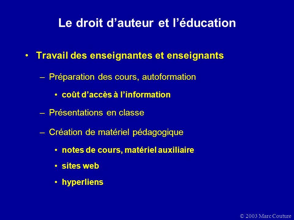 Le droit d'auteur et l'éducation