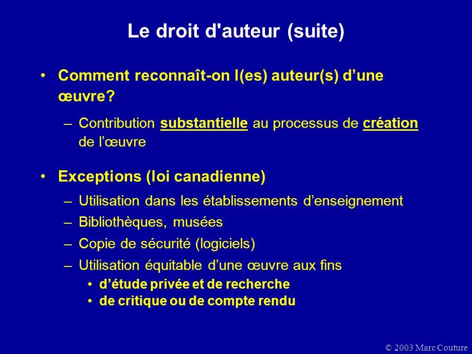Le droit d auteur (suite)