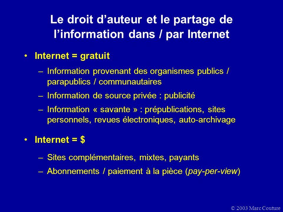 Le droit d'auteur et le partage de l'information dans / par Internet