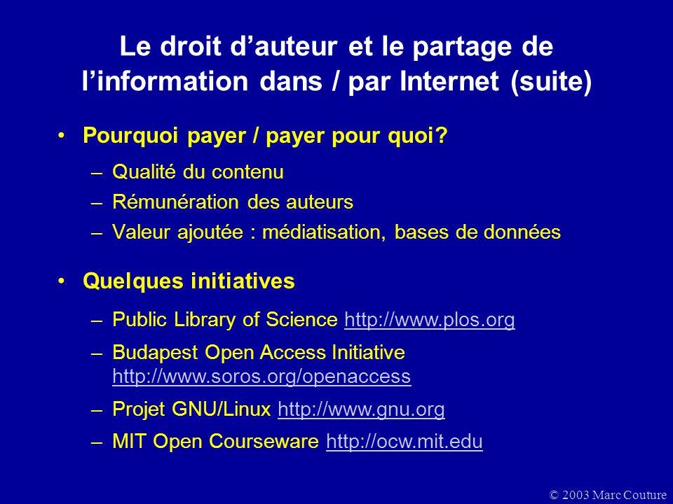Le droit d'auteur et le partage de l'information dans / par Internet (suite)
