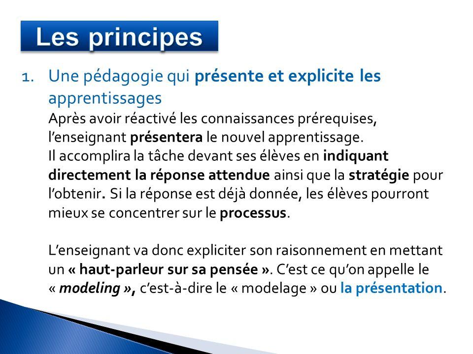Les principes Une pédagogie qui présente et explicite les apprentissages.