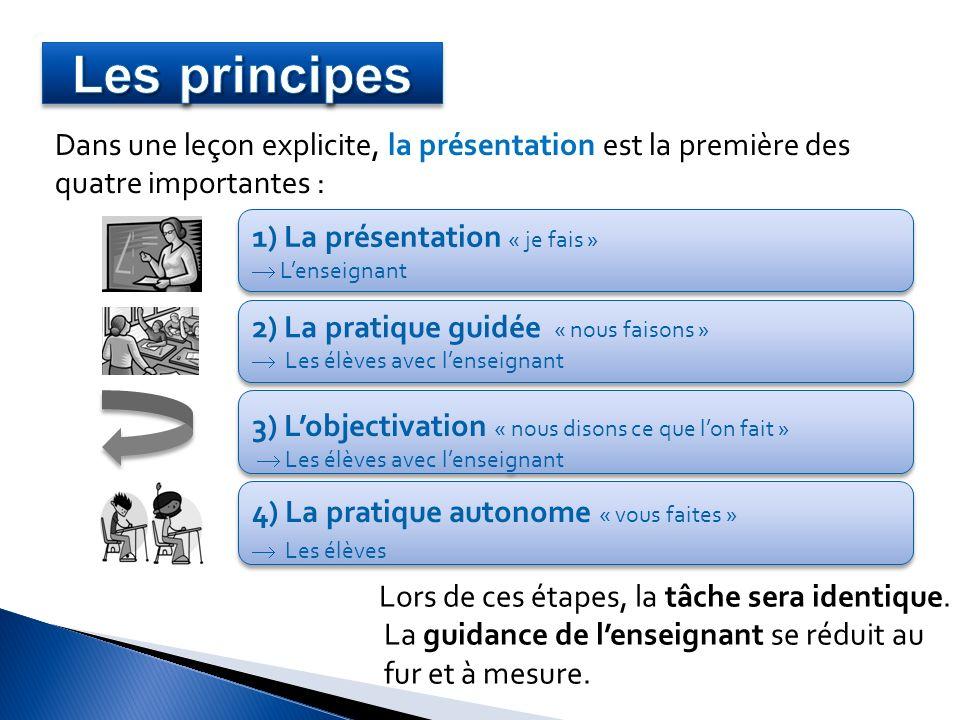 Les principes Dans une leçon explicite, la présentation est la première des quatre importantes : 1) La présentation « je fais »
