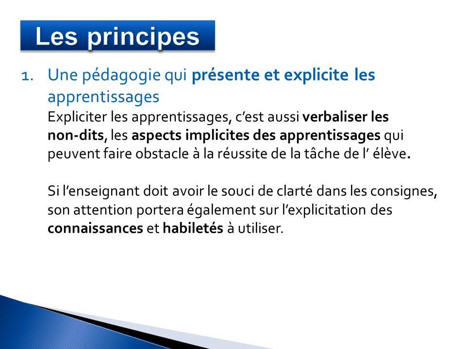 Les principes Une pédagogie qui présente et explicite les apprentissages. Expliciter les apprentissages, c'est aussi verbaliser les.