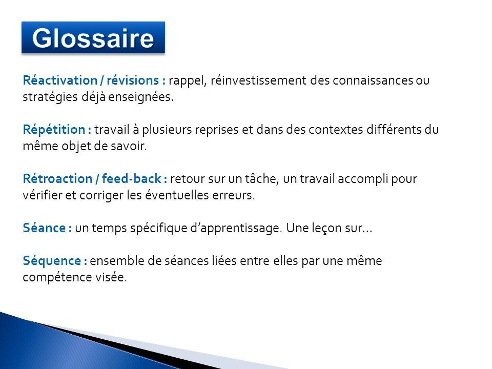 Glossaire Réactivation / révisions : rappel, réinvestissement des connaissances ou stratégies déjà enseignées.
