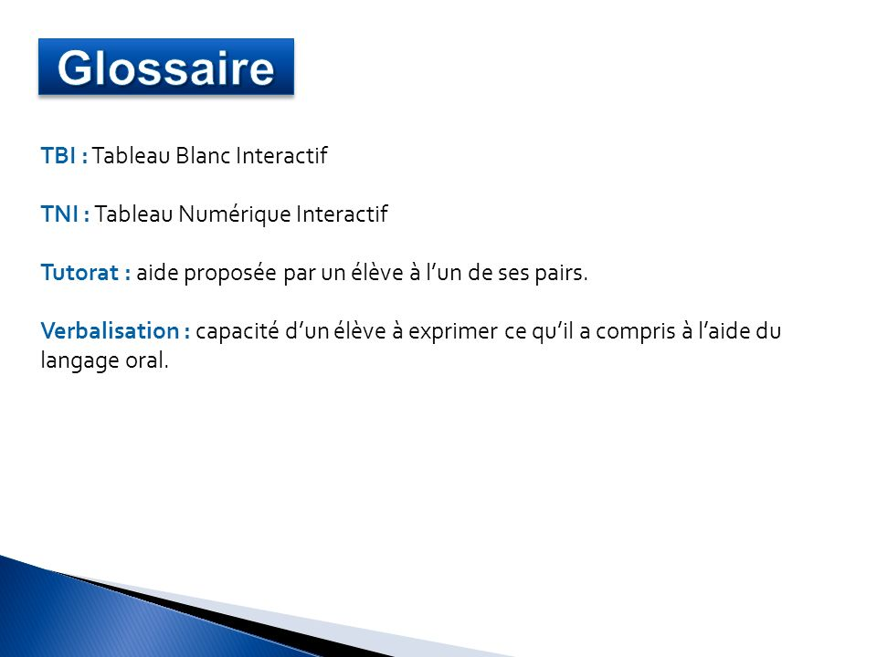 Glossaire TBI : Tableau Blanc Interactif