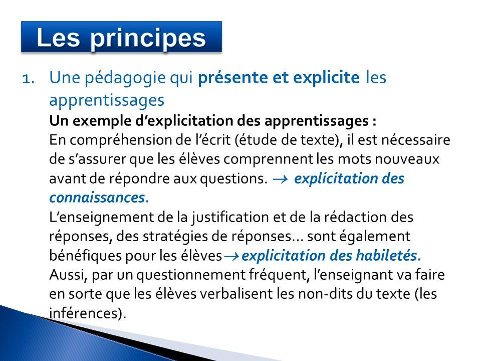 Les principes Une pédagogie qui présente et explicite les apprentissages. Un exemple d'explicitation des apprentissages :