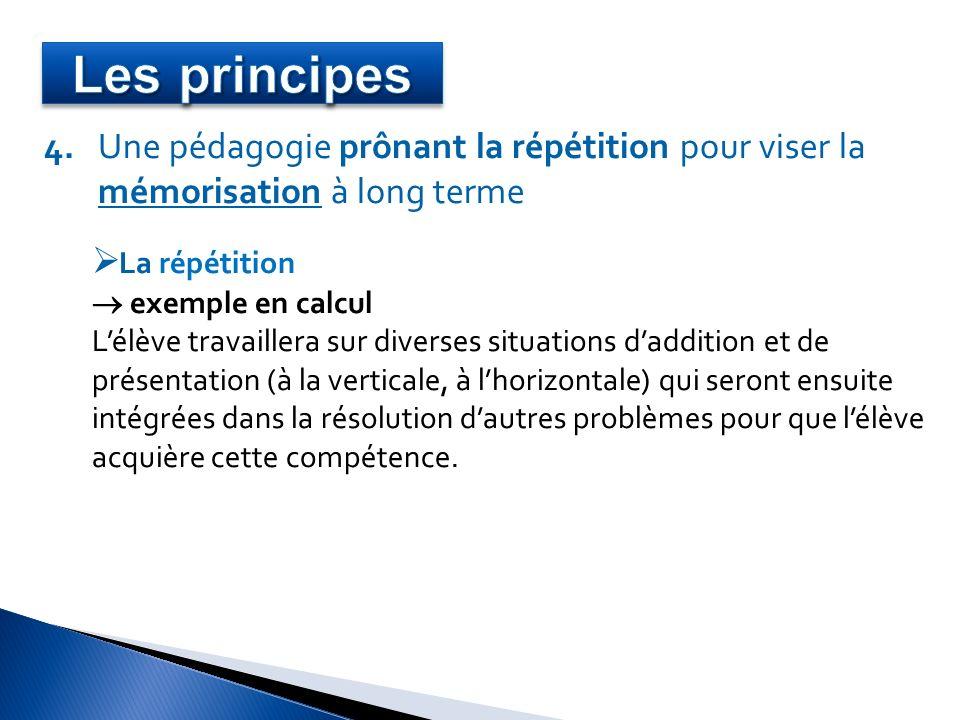 Les principes 4. Une pédagogie prônant la répétition pour viser la
