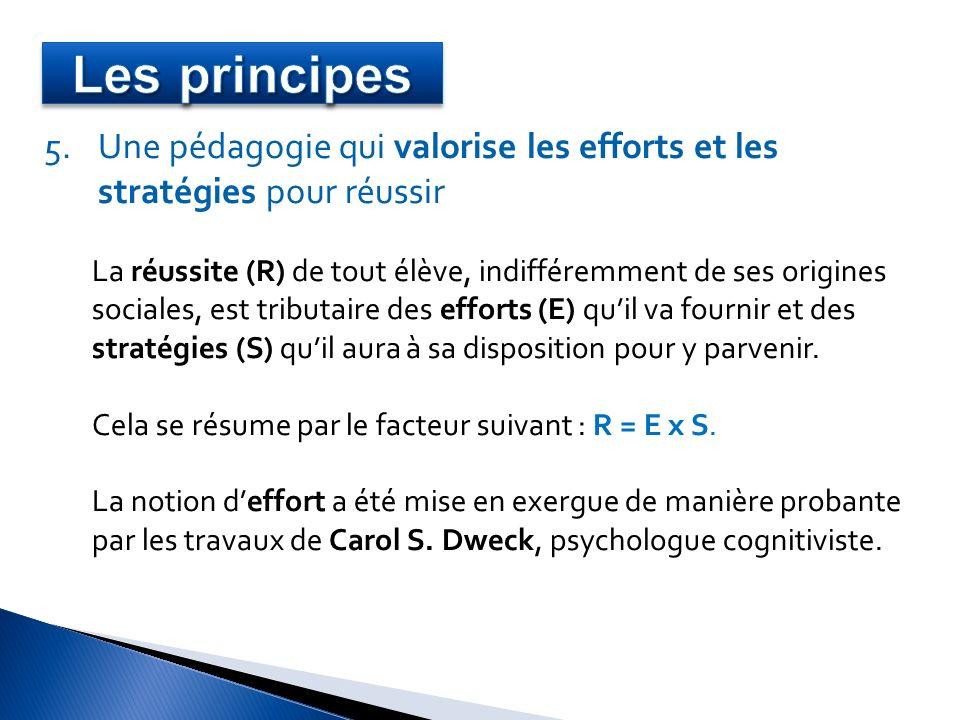 Les principes Une pédagogie qui valorise les efforts et les