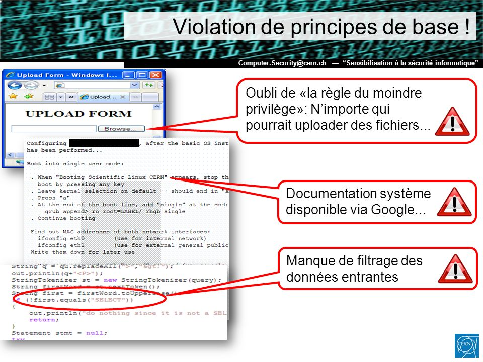 Violation de principes de base !