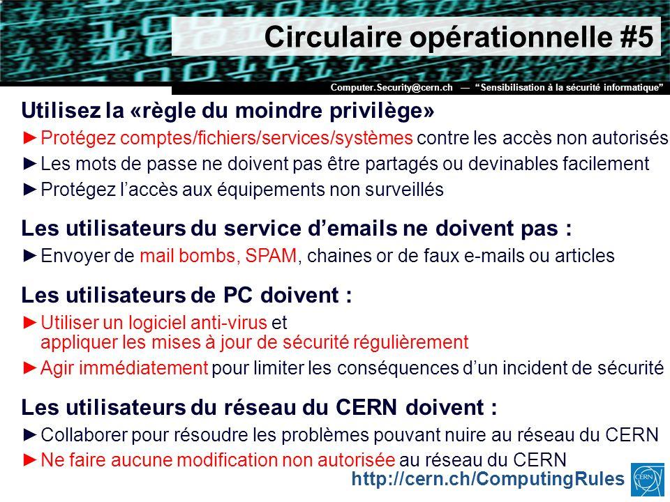 Circulaire opérationnelle #5