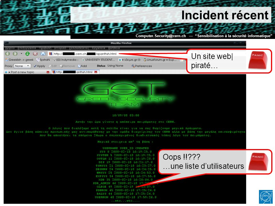 Incident récent Un site web| piraté…
