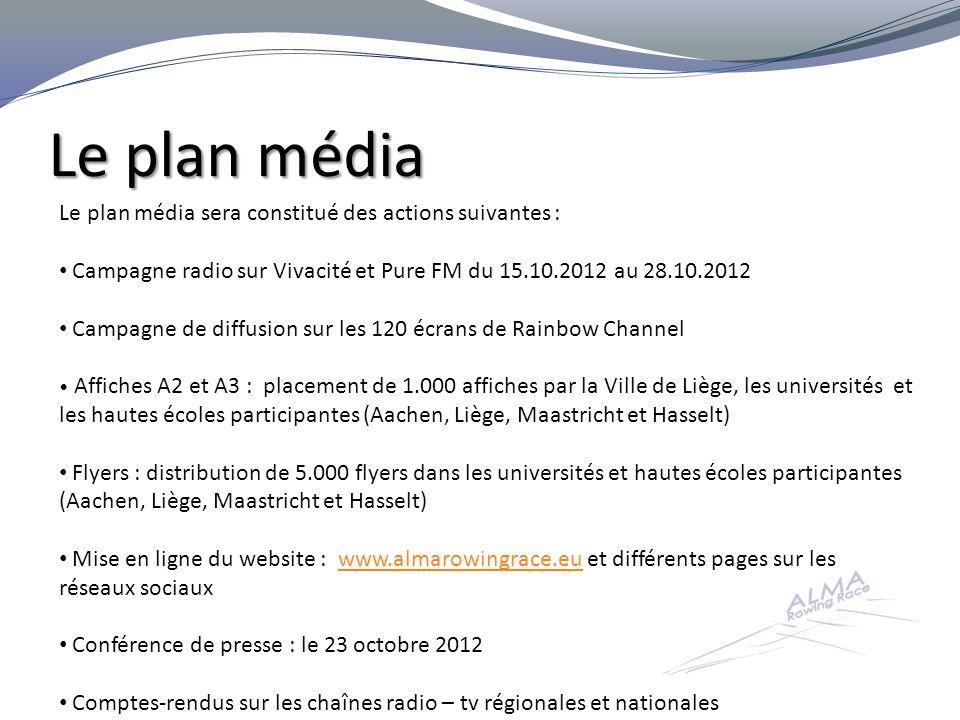 Le plan média Le plan média sera constitué des actions suivantes :