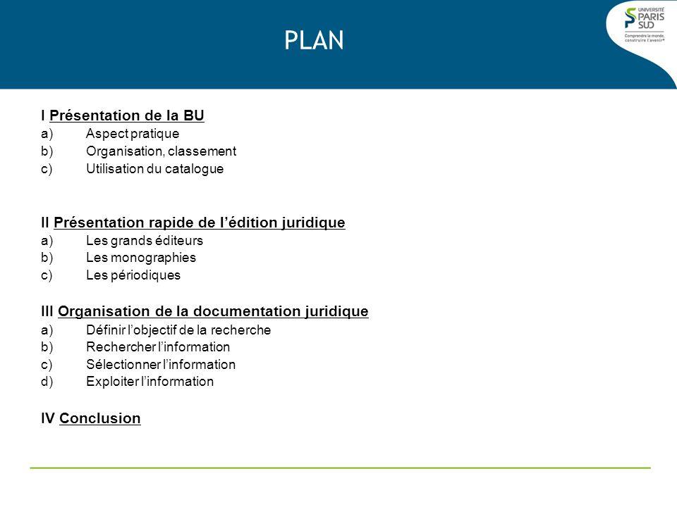PLAN I Présentation de la BU