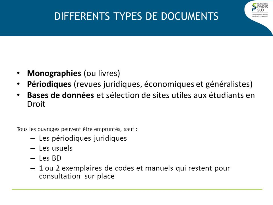 DIFFERENTS TYPES DE DOCUMENTS