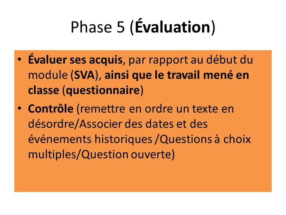 Phase 5 (Évaluation) Évaluer ses acquis, par rapport au début du module (SVA), ainsi que le travail mené en classe (questionnaire)