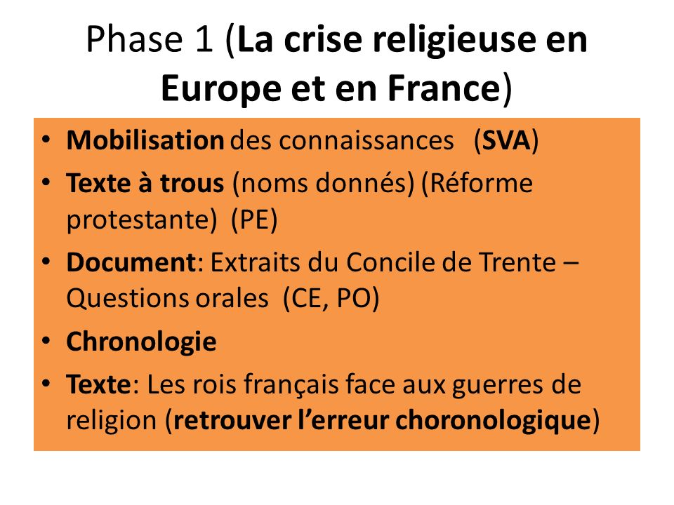 Phase 1 (La crise religieuse en Europe et en France)