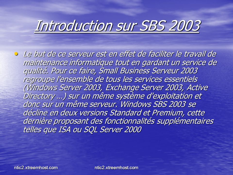 Introduction sur SBS 2003