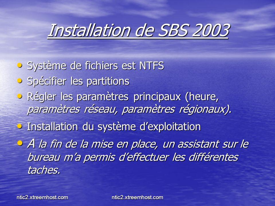 Installation de SBS 2003 Système de fichiers est NTFS. Spécifier les partitions.
