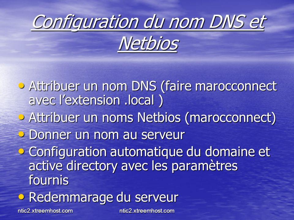 Configuration du nom DNS et Netbios