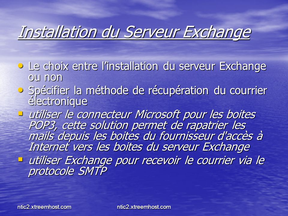 Installation du Serveur Exchange