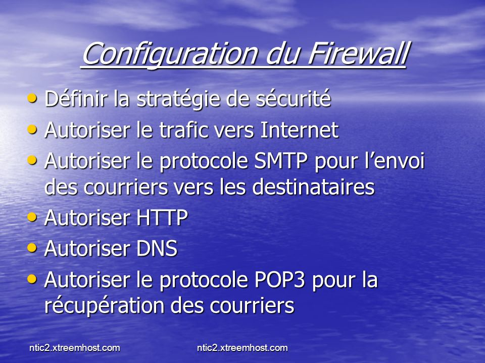 Configuration du Firewall
