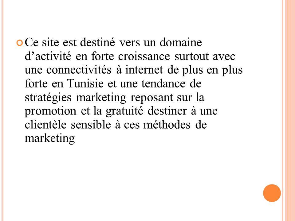 Ce site est destiné vers un domaine d'activité en forte croissance surtout avec une connectivités à internet de plus en plus forte en Tunisie et une tendance de stratégies marketing reposant sur la promotion et la gratuité destiner à une clientèle sensible à ces méthodes de marketing