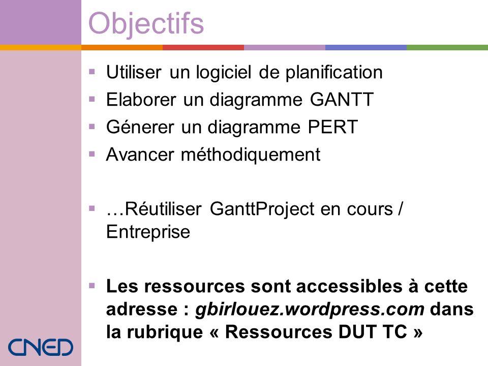 Objectifs Utiliser un logiciel de planification