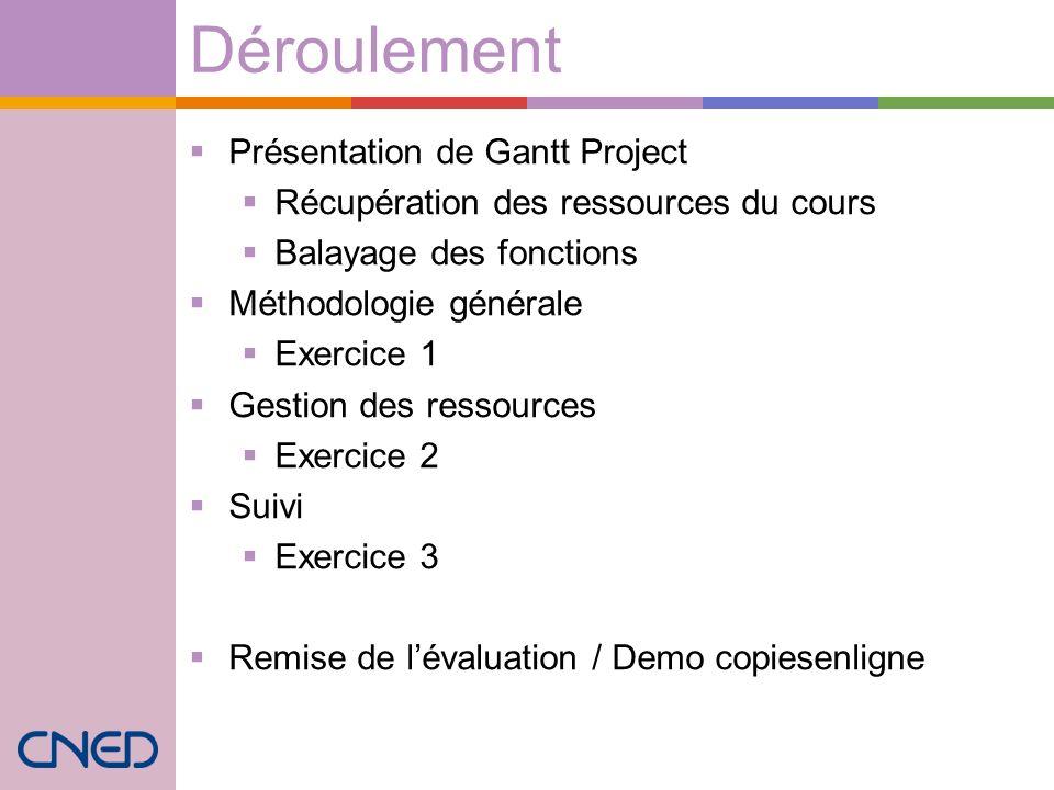 Déroulement Présentation de Gantt Project