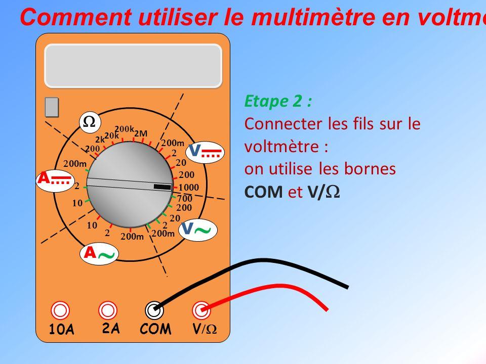 ~ Comment utiliser le multimètre en voltmètre