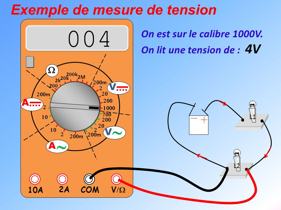 004 ~ Exemple de mesure de tension On est sur le calibre 1000V.